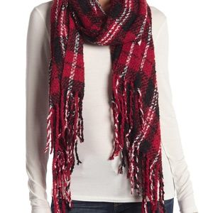 Free People Emerson Red and Black Plaid Scarf NEW!